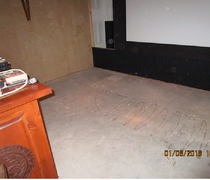 theater room dried and with carpeting removed