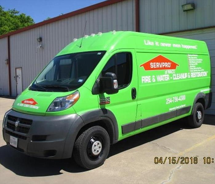 Clean, shiny, bright green SERVPRO of Waco Promaster van