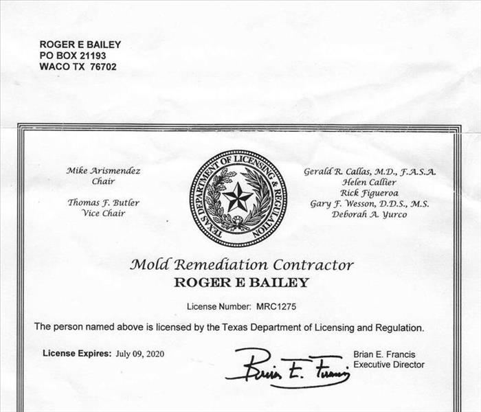 Texas mold remediation contractor license.