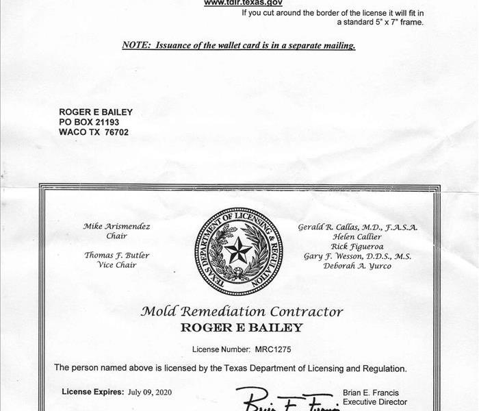 Texas mold remediation contractor license