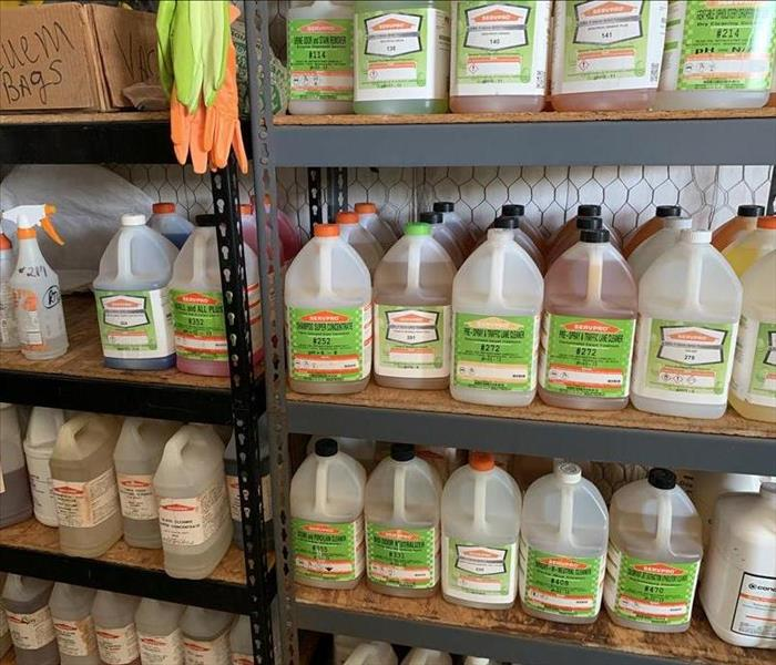 SERVPRO products on warehouse shelves